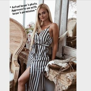 Button Front Vertical Stripe Cami Dress Belted